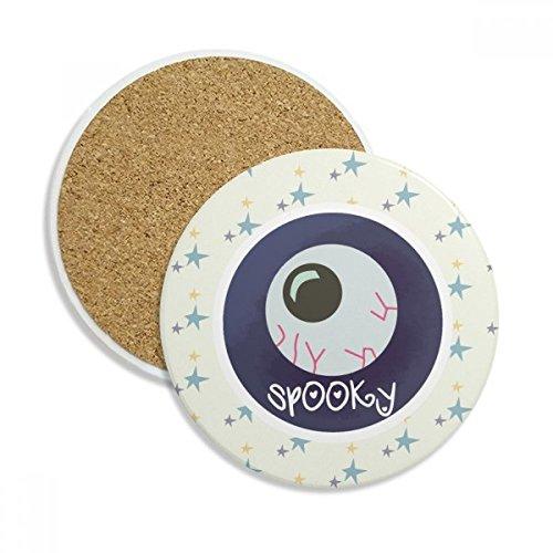 Halloween Round Lifelike Eyeball Stone Drink Ceramics Coasters for Mug Cup Gift 2pcs -