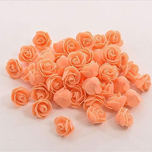 50PCS Mini PE Foam Artificial Flower Rose Bouquet Wedding Flowers for Wreath Decoration Bride Flower Wedding Car Home Decoration Nude