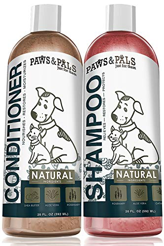 Natural Oatmeal Dog-Shampoo and Conditioner Combo - 20oz Medicated Clinical Vet Formula Wash for All Pets Puppy & Cats - Made with Aloe Vera for Relieving Dry Itchy Skin