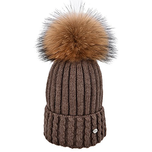 Brown Color Fur (SOMALER Winter Fur Pom Pom Beanie For Women Real Fox Fur Knit Beanies For Girls Cuff Hat,Camel,Normal one size fit for all with stretch)