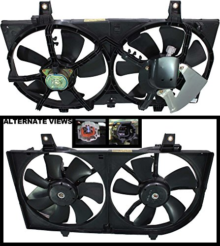 (APDTY 731535 Dual Radiator & AC Condenser Cooling Fan Blade Motor Shroud Assembly Fits 2002-2006 Nissan Altima 1.8L Engine (w/Air Conditioning ONLY) Replaces OE 214814Z320, 21481-4Z322)