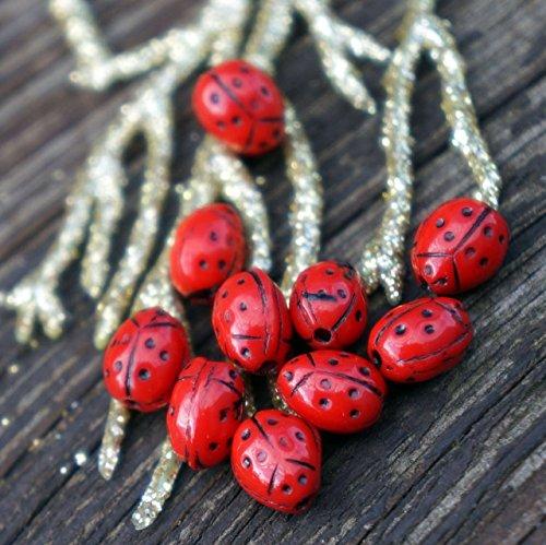 Czech Ladybug - Black Red Ladybug Beads Red Black Beads Czech Glass Beads Bohemian Beads 7mm x 5mm 12pc