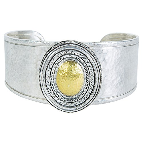 Loved Luxuries BRAND NEW Gurhan Cavalier Cuff Bracelet in Sterling Silver & 24k White Gold (Gurhan Yellow Necklace)