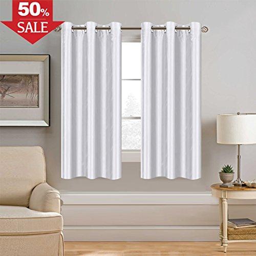 H.VERSAILTEX White Curtain Faux Silk Window Curtain Dimming