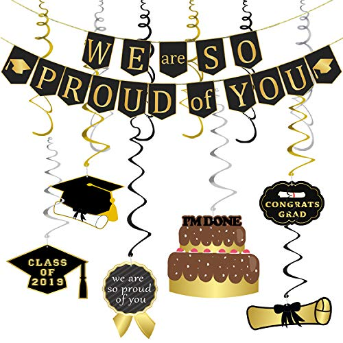 We Are So Proud of You Banner Decoration Set - Assembled, Black and Gold | Graduation Hanging Decorations | Graduations Party Supplies 2019 | Graduation Decorations for High School College Grad Party Decor, Large (Best College Graduation Party Ideas)
