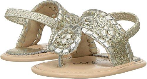 Jack Rogers Girls' Baby Jacks Sandal, Platinum Sparkle, 3-6 Months US Infant