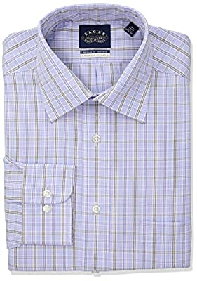 Eagle Men's Non Iron Regular Fit Plaid Spread Collar Dress Shirt