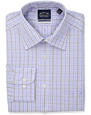 Men's Non Iron Regular Fit Plaid Spread Collar Dress Shirt