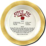 Oven-Safe Stoneware Apple Pie Plate With Scalloped Edges And Printed Recipe