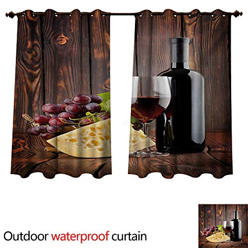 Wallace Glass Print - WilliamsDecor Wine Outdoor Balcony Privacy Curtain Red Wine Cabernet Bottle and Glass Cheese and Grapes on Wood Planks Print W108 x L72(274cm x 183cm)