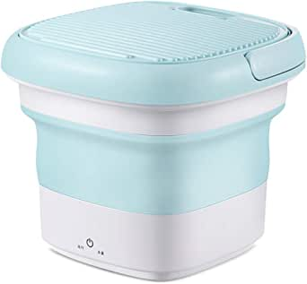 kjhgk Household Mini Washing Machine Travel Portable Small Foldable Barrel Type Semi-Automatic Washing Machine Green