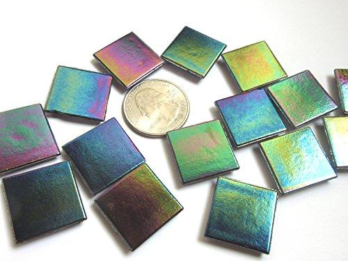 50 Square Rainbow Metallic Glass Mosaic Tiles, Iridescent Glass Pieces,Craft Supply for Tile Mosaic Art (Dichroic Mosaic Glass)