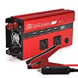 UFire Upgraded Smart 500W Power Inverter DC 12V to 110V AC Car Converter with Intelligent Digital Display, Dual AC Outlets and 4 USB Charging Ports for Tablets, Laptops and Smartphone - Red