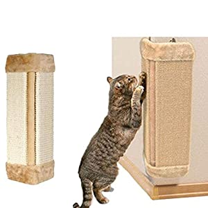 cyclamen9 Wall Mounted Scratching Post, Hanging Natural Sisal Cat Scratching Mat, Door Wall Protecting Corner with Wall Fixings (Beige) 106