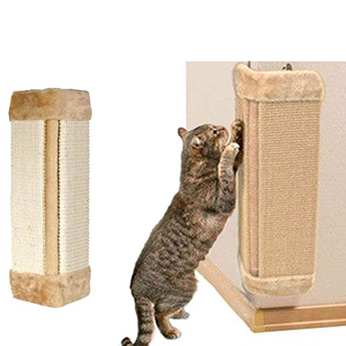 cyclamen9 Wall Mounted Scratching Post, Hanging Natural Sisal Cat Scratching Mat, Door Wall Protecting Corner with Wall Fixings (Beige) (Scratch Cat Corner)