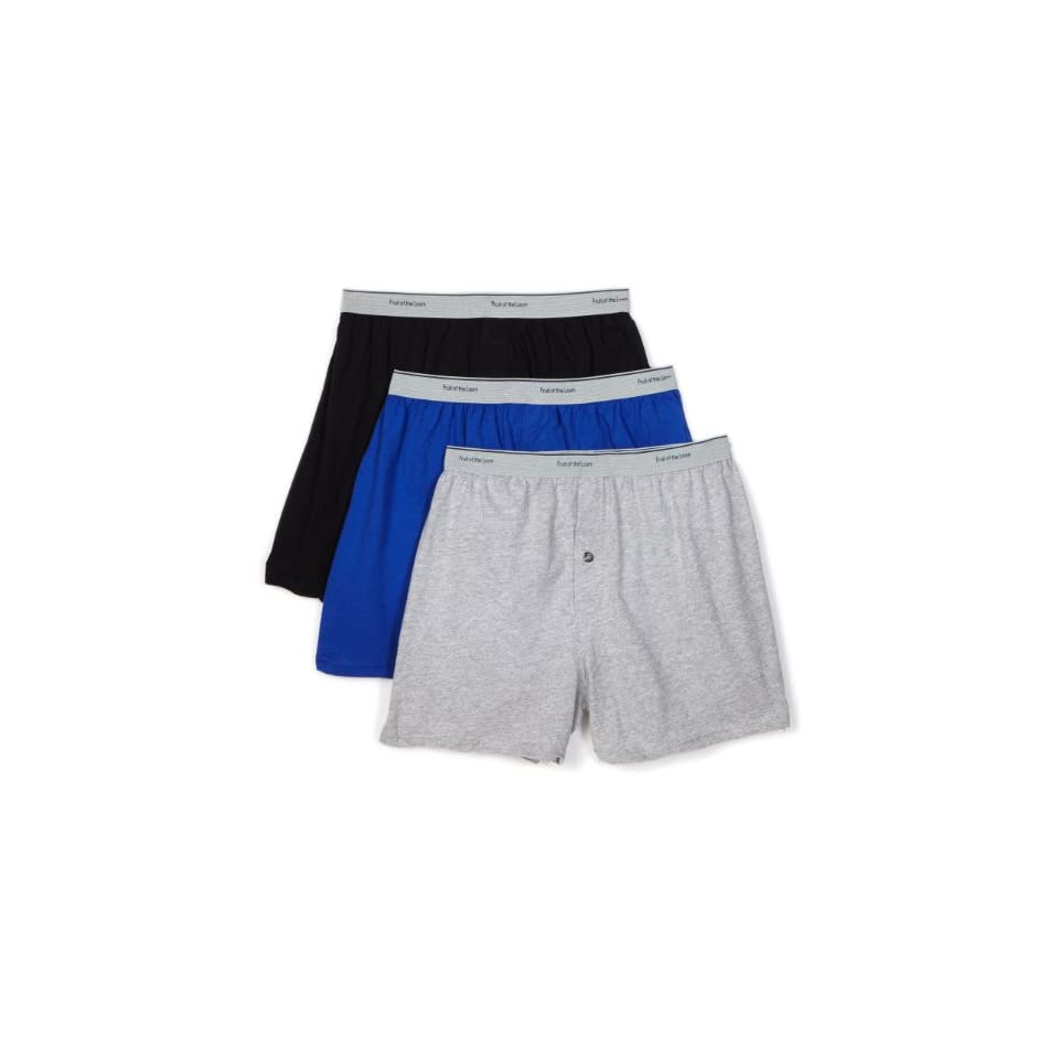 Fruit of the Loom Mens 3 Pack Knit Boxer With Exposed Waistband
