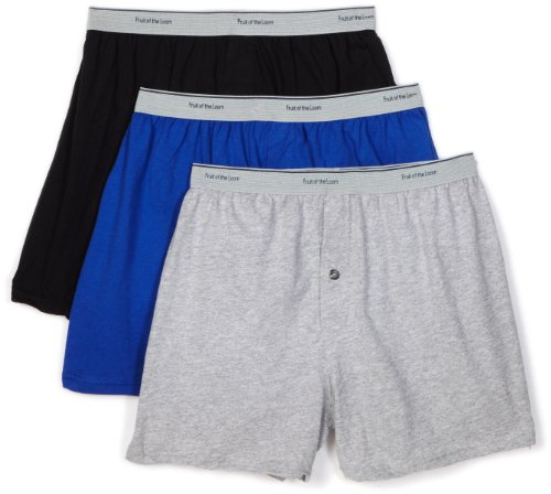 Fruit of the Loom Men's  Knit Boxer With Exposed Waistband - Colors May Vary, Assorted, Large(Pack of 3)