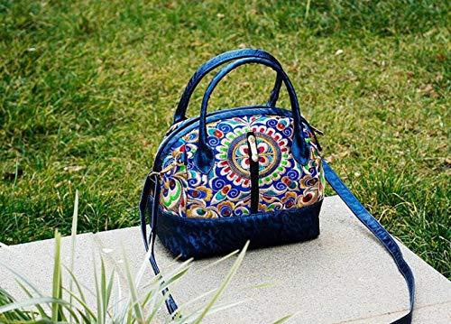 ragazza forma Bu moda borsa borsa semplice selvaggia di conchiglia ricamo a Retro blu a tracolla blu Jiu qSwdOIq