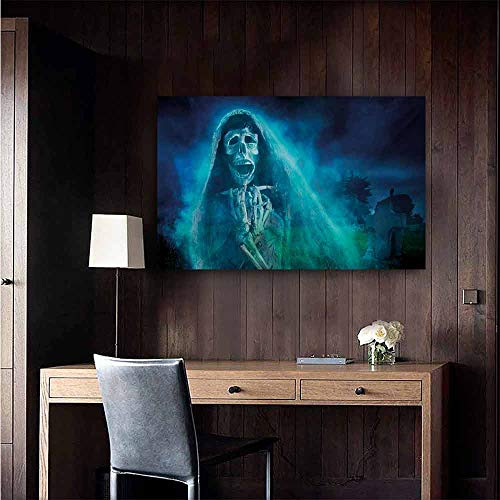 duommhome Halloween Modern Oil Paintings Gothic Dark Backdrop with a Dead Ghost Skull Mystical Haunted Horror Themed Digital Art Canvas Wall Art 32