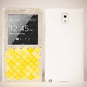 For Samsung Galaxy Note 3 N9000 Crystal Diamonds Flip Leather Window Case Cover (Yellow)