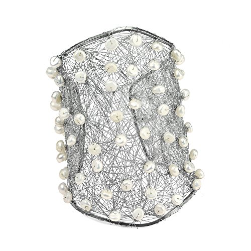 AeraVida Wide Wire Works Cultured Freshwater White Pearl Mesh Cuff Bracelet