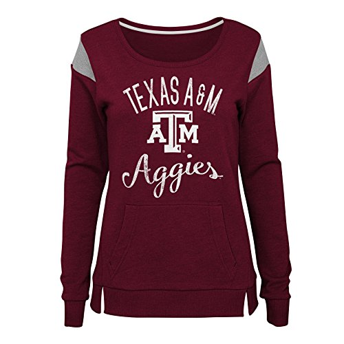 Gen 2 NCAA Texas A&M Aggies Juniors Classic Crew Pullover Fleece, Juniors X-Small(0-1), Maroon