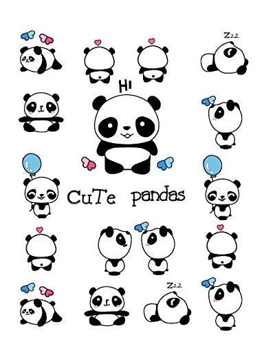 Set of 2 Waterproof Temporary Fake Tattoo Stickers Cute Panda Animals Blue Balloon Cartoon Design Kids Child Body Art Make Up -