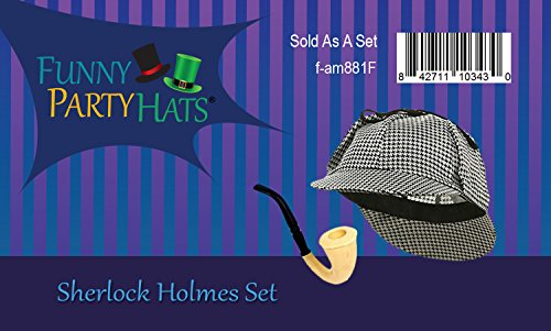 c3b7c4711226b Funny Party Hats Detective Hat and Pipe - Sherlock Holmes Kit ...