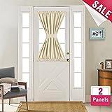 40 inch long door curtain panels - Room Darkening French Door Curtains 40 inches Long 2 Panels French Door Panels Privacy French Door Panel Curtains with 2 Bonus Tiebacks, Beige