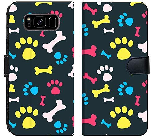 Wallet Prints Paw (Liili Samsung Galaxy S8 PlusPlus Flip Micro Fabric Wallet Case Image ID: 23228949 Cool pet Background with Dog paw Prints and Bones Vector Seamless Texture)