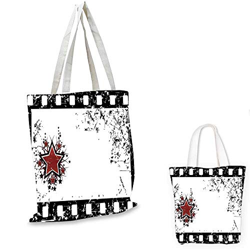 Movie Theater shopping bag storage pouch Grungy Illustration of Film Strip with Ornamental Stars Cinematography travel shopping bag Black White Ruby. 15