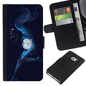 All Phone Most Case / Oferta Especial Cáscara Funda de cuero Monedero Cubierta de proteccion Caso / Wallet Case for Samsung Galaxy S6 EDGE // Angel Woman Underwater Magic
