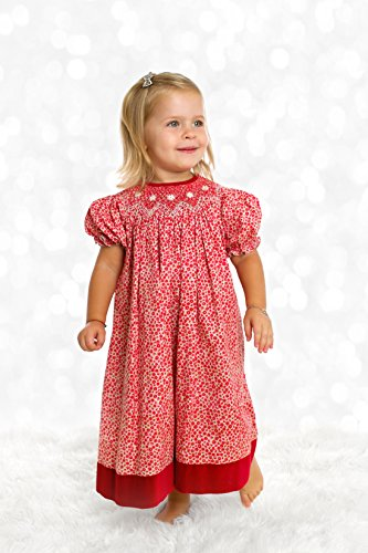 Fall Bishop Dress (Baby Girl's Festive Hand Smocked Holiday Bishop Dress - Red on Red Floral, 24M)