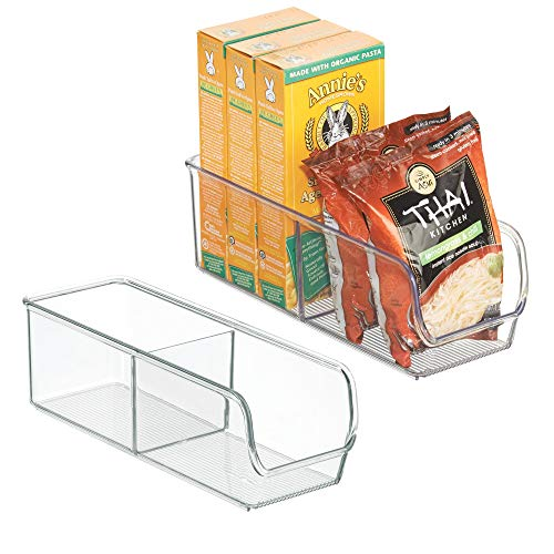 mDesign Plastic Food Packet Organizer Bin Caddy - Storage Station for Kitchen, Pantry, Cabinet, Countertop - Holds Spice Pouches, Dressing Mixes, Hot Chocolate, Tea, Sugar Packets - 2 Pack - Clear