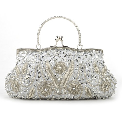 TopTie Beaded Flower Clutch, Silver Evening Handbag, Gift Idea