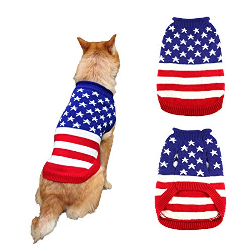 Dog Sweater for Pets Cats Knit Knitwear Jumper Coat Clothes American Flag Style Winter Warm Stars and Stripes