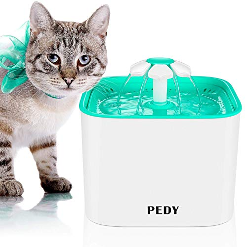 Pedy Cat Water Fountain - Automatic Cat Flower Water Fountain - Pet Water Fountain for Cats and Dogs with Filter 4 Filters - Green (2.0L)