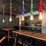 Arturesthome Vintage Pipe Pendant Lamps, Loft Industrial E27/E26 Base Hemp Rope Lights, Bar Restaurant Decor, Metal Home Decoration Ceiling Light