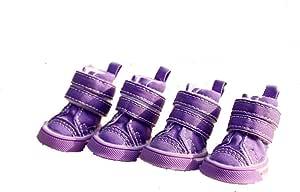 ZGSH Shoes small dogs wear non-slip shoes non-slip rainbow shoes a set of four (Color : Purple, Size : 2)