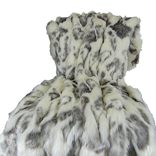 - Thomas Collection Ivory Faux Fur Throw Blanket & Bedspread - Rabbit Faux Fur - Ivory Gray Luxury Faux Fur - Fur Throw Blanket - Luxury Soft Faux Fur, Handmade in USA, 16428