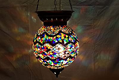 XXL moroccan lantern mosaic hanging lamp glass chandelier light turkish candle holder m 48