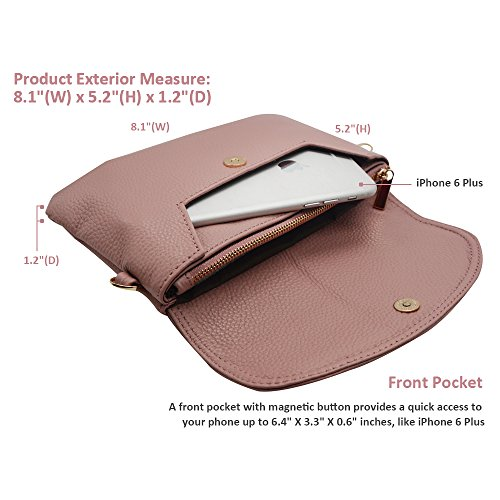 Leather Note Wrist Mini for Strap Bag Cross Plus Clutch Slots Body Women Card Wristlet Cell Samsung 8 Phone Befen Purse Wallet 7 with iPhone 5 Strap Shoulder 584Zw6q