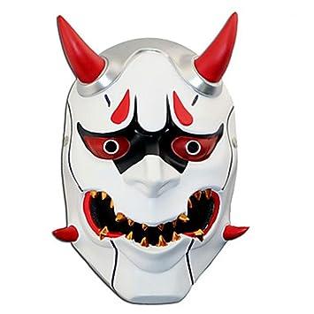 WHFDRHWSJMJ Mascara Halloween Terror de LED Cosplay Accesorios inspirados en la máscara de plexiglás de Resina