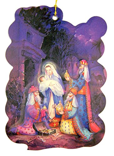 The Holy Family and 3 Kings 3 Inch Nativity Christmas Ornament with Raised 3D Image