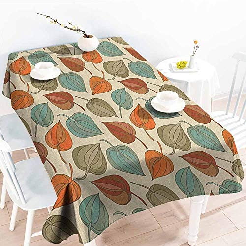 familytaste Floral,Table Cloth for Outdoor Picnic Onion Flower Leaves Mother Nature in Autumn Art Nouveau Winter Cherry Rural Pattern 70