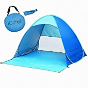iCorer Automatic Pop Up Instant Portable Outdoors Quick Cabana Beach Tent Sun Shelter, Light Blue