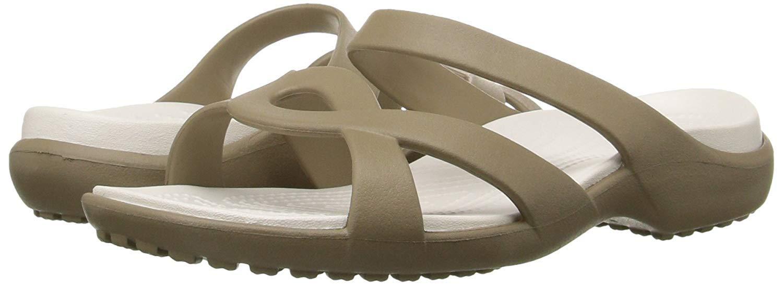 Crocs Women's Meleen Twist Sandal (5 M US, Khaki-Oyster)