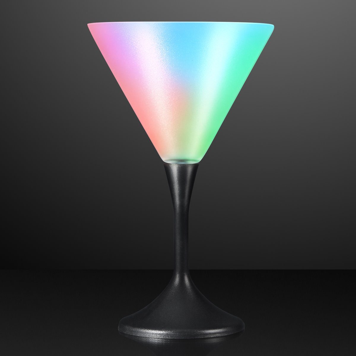 Light Up Frosted Martini Glasses with Black Base & Color Changing LED Lights (Set of 12) FlashingBlinkyLights