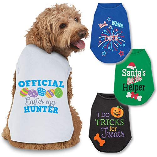 Collections Etc Seasonal Cheer Dog Tee Shirts Set of 4 - Halloween, Christmas, Easter, 4th of July, Small -