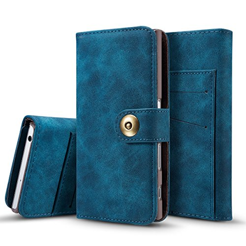 TOTOOSE Sony Xperia XZ Case, Wallet Case, Surface Premium PU Leather Flip Case Cover with Card Slots & Kickstand for Sony Xperia XZ - Navy
